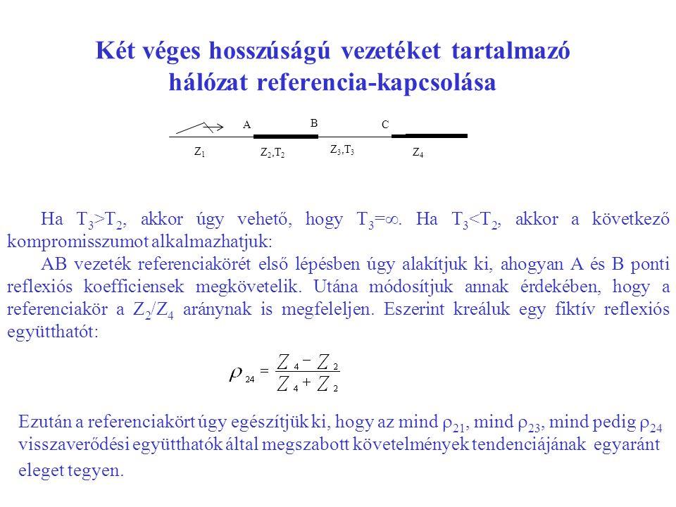 Két véges hosszúságú vezetéket tartalmazó hálózat referencia-kapcsolása Z1Z1 Z 2,T 2 Z 3,T 3 Z4Z4 A B C Ha T 3 >T 2, akkor úgy vehető, hogy T 3 =∞. Ha