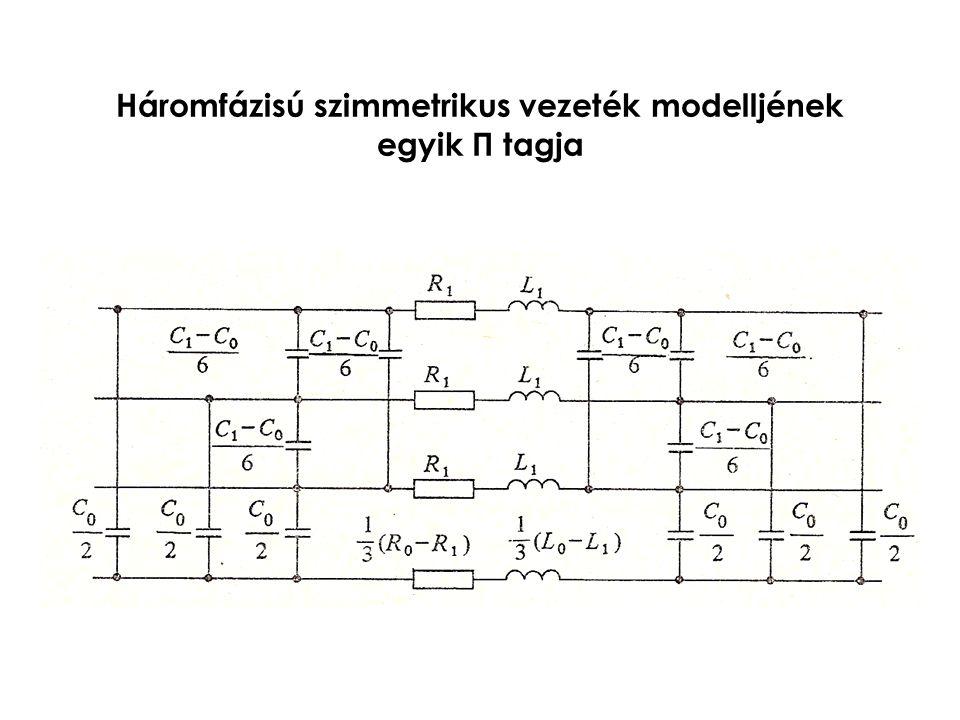 Háromfázisú szimmetrikus vezeték modelljének egyik Π tagja