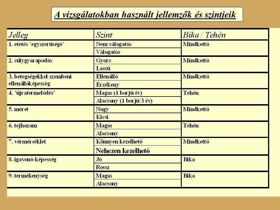 A vizsgálatokban használt jellemzők és szintjeik