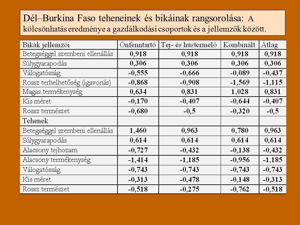 Dél–Burkina Faso teheneinek és bikáinak rangsorolása: A kölcsönhatás eredménye a gazdálkodási csoportok és a jellemzők között.