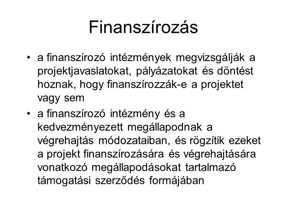 Finanszírozás a finanszírozó intézmények megvizsgálják a projektjavaslatokat, pályázatokat és döntést hoznak, hogy finanszírozzák-e a projektet vagy sem a finanszírozó intézmény és a kedvezményezett megállapodnak a végrehajtás módozataiban, és rögzítik ezeket a projekt finanszírozására és végrehajtására vonatkozó megállapodásokat tartalmazó támogatási szerződés formájában
