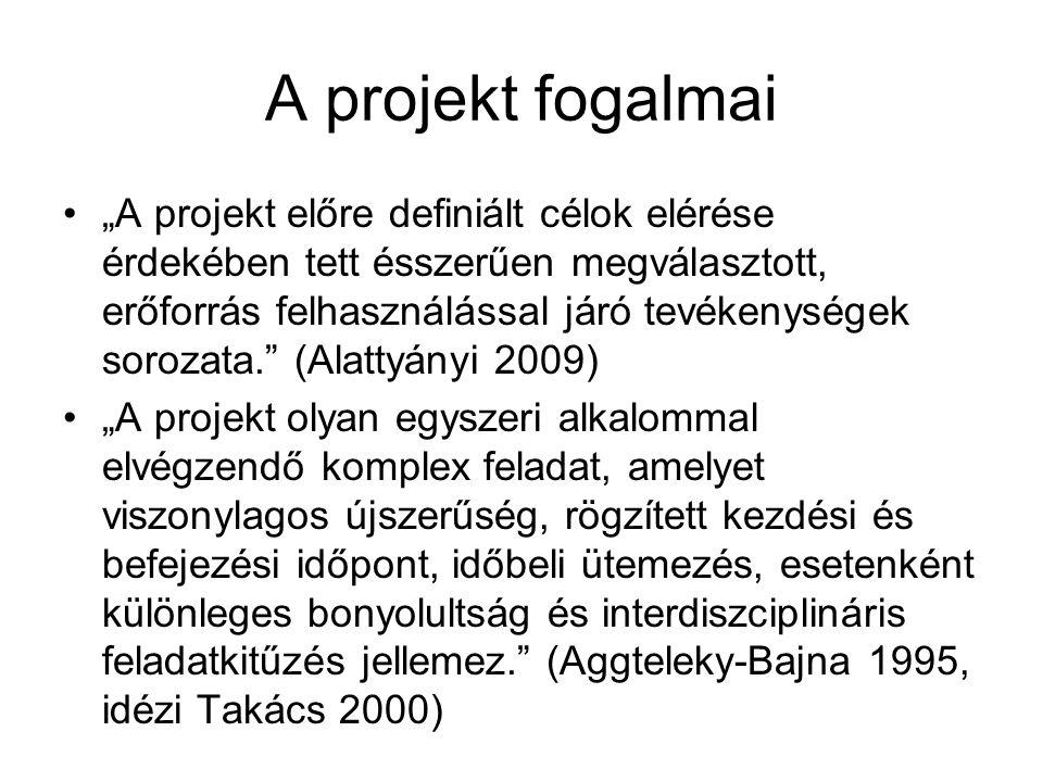 """A projekt fogalmai """"A projekt előre definiált célok elérése érdekében tett ésszerűen megválasztott, erőforrás felhasználással járó tevékenységek sorozata. (Alattyányi 2009) """"A projekt olyan egyszeri alkalommal elvégzendő komplex feladat, amelyet viszonylagos újszerűség, rögzített kezdési és befejezési időpont, időbeli ütemezés, esetenként különleges bonyolultság és interdiszciplináris feladatkitűzés jellemez. (Aggteleky-Bajna 1995, idézi Takács 2000)"""