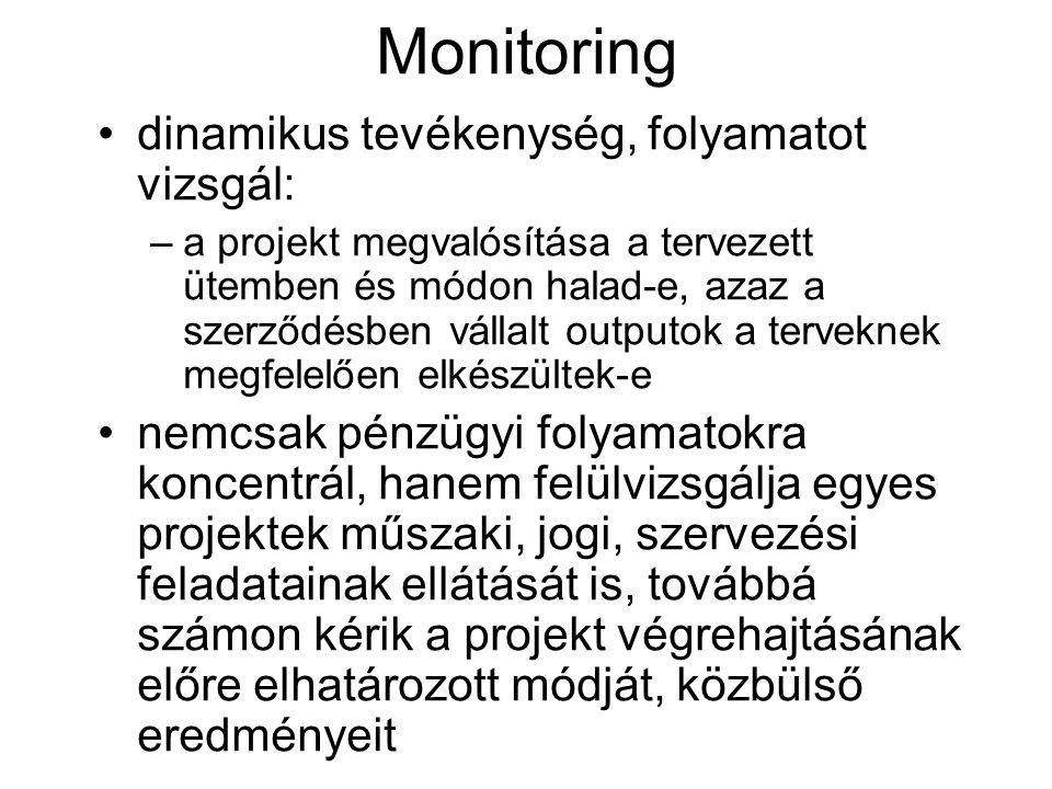 Monitoring dinamikus tevékenység, folyamatot vizsgál: –a projekt megvalósítása a tervezett ütemben és módon halad-e, azaz a szerződésben vállalt outputok a terveknek megfelelően elkészültek-e nemcsak pénzügyi folyamatokra koncentrál, hanem felülvizsgálja egyes projektek műszaki, jogi, szervezési feladatainak ellátását is, továbbá számon kérik a projekt végrehajtásának előre elhatározott módját, közbülső eredményeit
