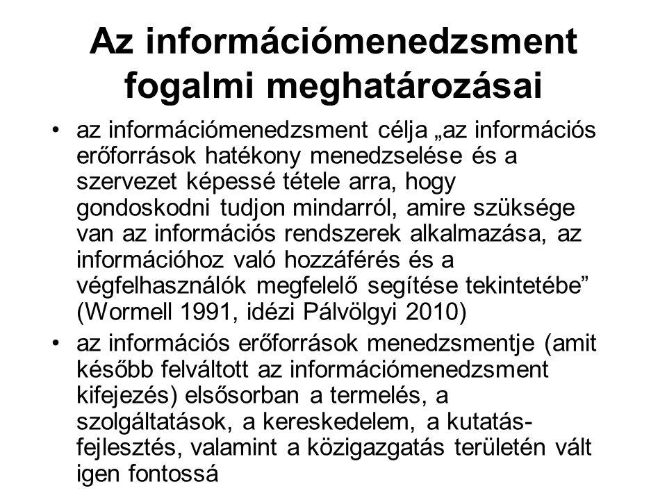 """Az információmenedzsment fogalmi meghatározásai az információmenedzsment célja """"az információs erőforrások hatékony menedzselése és a szervezet képessé tétele arra, hogy gondoskodni tudjon mindarról, amire szüksége van az információs rendszerek alkalmazása, az információhoz való hozzáférés és a végfelhasználók megfelelő segítése tekintetébe (Wormell 1991, idézi Pálvölgyi 2010) az információs erőforrások menedzsmentje (amit később felváltott az információmenedzsment kifejezés) elsősorban a termelés, a szolgáltatások, a kereskedelem, a kutatás- fejlesztés, valamint a közigazgatás területén vált igen fontossá"""