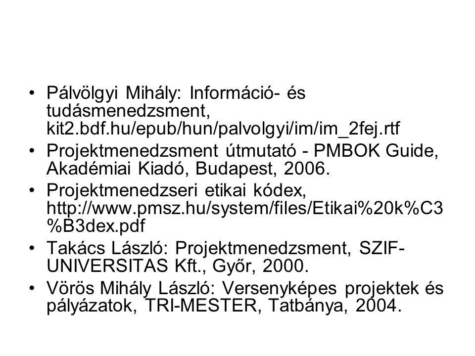 Pálvölgyi Mihály: Információ- és tudásmenedzsment, kit2.bdf.hu/epub/hun/palvolgyi/im/im_2fej.rtf Projektmenedzsment útmutató - PMBOK Guide, Akadémiai Kiadó, Budapest, 2006.