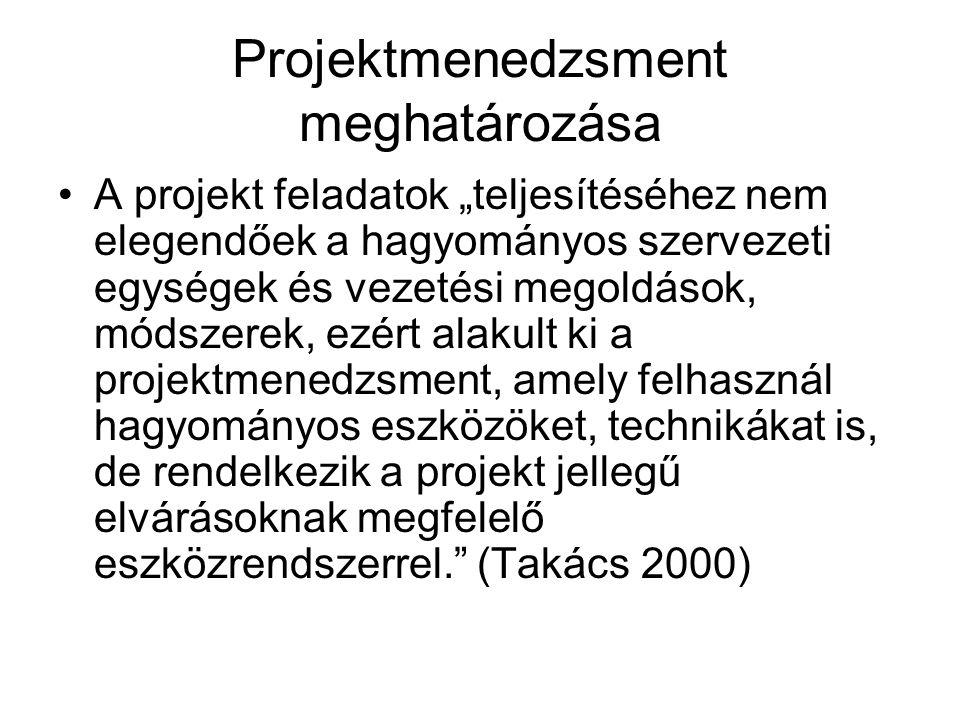 """Projektmenedzsment meghatározása A projekt feladatok """"teljesítéséhez nem elegendőek a hagyományos szervezeti egységek és vezetési megoldások, módszerek, ezért alakult ki a projektmenedzsment, amely felhasznál hagyományos eszközöket, technikákat is, de rendelkezik a projekt jellegű elvárásoknak megfelelő eszközrendszerrel. (Takács 2000)"""