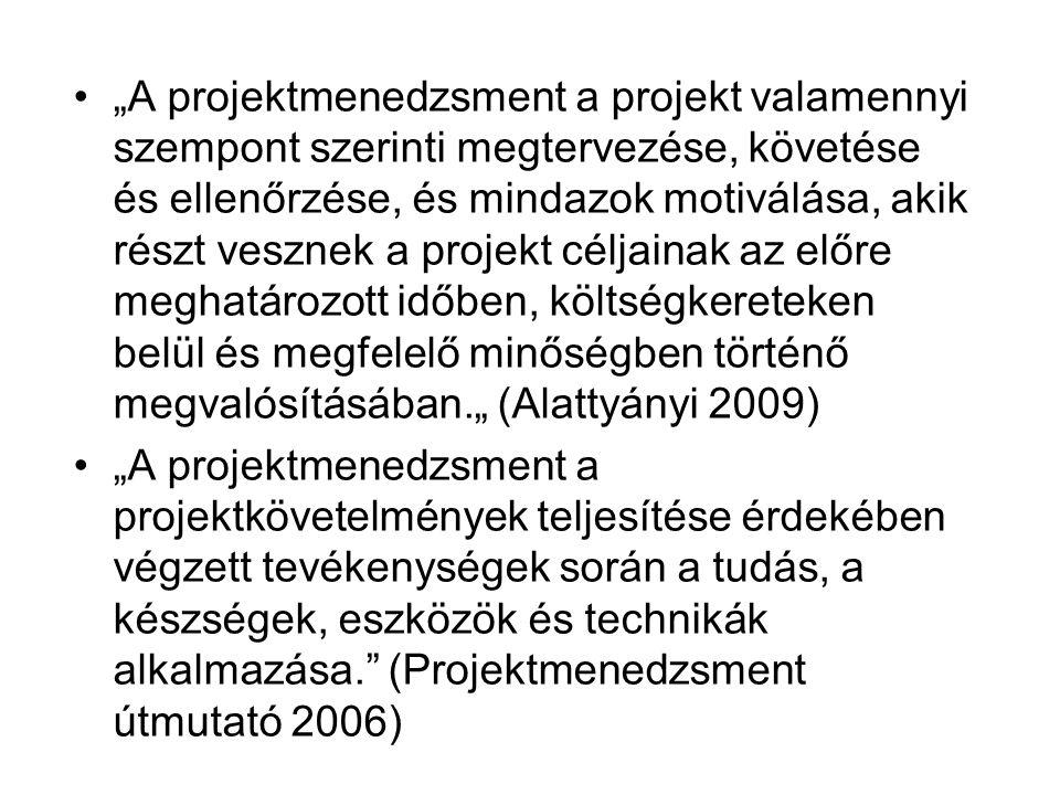"""""""A projektmenedzsment a projekt valamennyi szempont szerinti megtervezése, követése és ellenőrzése, és mindazok motiválása, akik részt vesznek a projekt céljainak az előre meghatározott időben, költségkereteken belül és megfelelő minőségben történő megvalósításában."""" (Alattyányi 2009) """"A projektmenedzsment a projektkövetelmények teljesítése érdekében végzett tevékenységek során a tudás, a készségek, eszközök és technikák alkalmazása. (Projektmenedzsment útmutató 2006)"""
