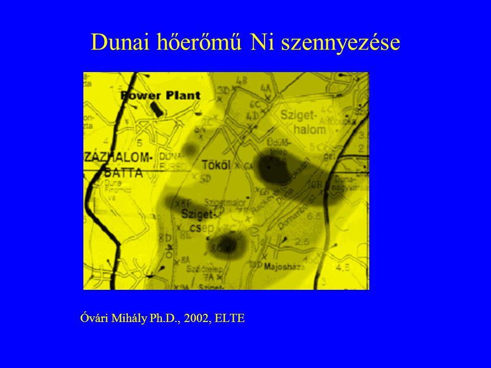 Hőerőmű szálló porának kiülepedése A szennyezés függ : Elégetett mennyiségtől Elégetett anyagtól Égetési technikától Kémény magasságától Meteorológiai