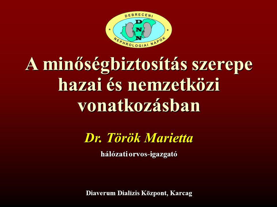 A minőségbiztosítás szerepe hazai és nemzetközi vonatkozásban Dr. Török Marietta hálózati orvos-igazgató Diaverum Dialízis Központ, Karcag
