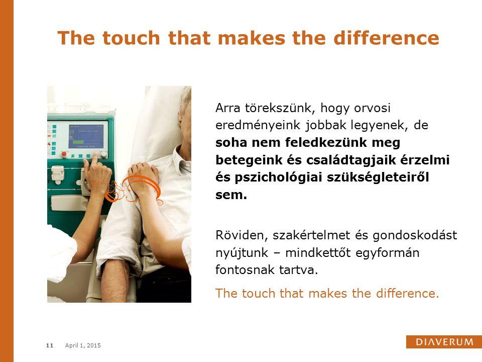 The touch that makes the difference Arra törekszünk, hogy orvosi eredményeink jobbak legyenek, de soha nem feledkezünk meg betegeink és családtagjaik