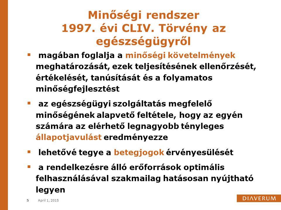 Minőségi rendszer 1997. évi CLIV. Törvény az egészségügyről April 1, 20155  magában foglalja a minőségi követelmények meghatározását, ezek teljesítés