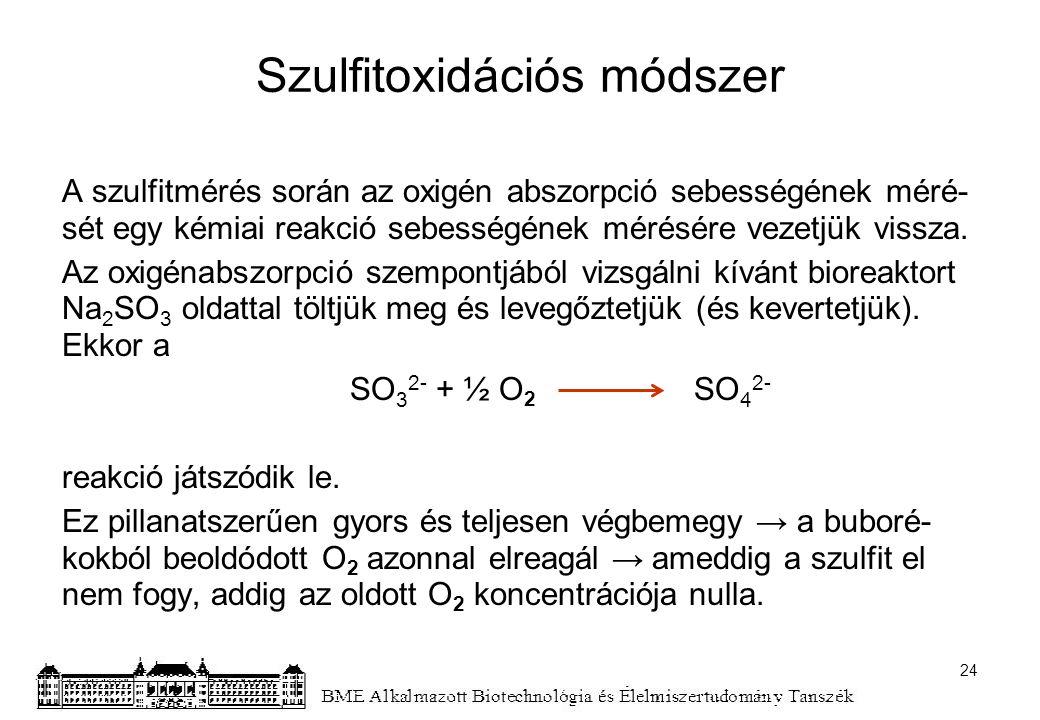 Szulfitoxidációs módszer A szulfitmérés során az oxigén abszorpció sebességének méré- sét egy kémiai reakció sebességének mérésére vezetjük vissza. Az