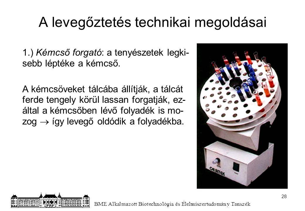 A levegőztetés technikai megoldásai 1.) Kémcső forgató: a tenyészetek legki- sebb léptéke a kémcső. A kémcsöveket tálcába állítják, a tálcát ferde ten