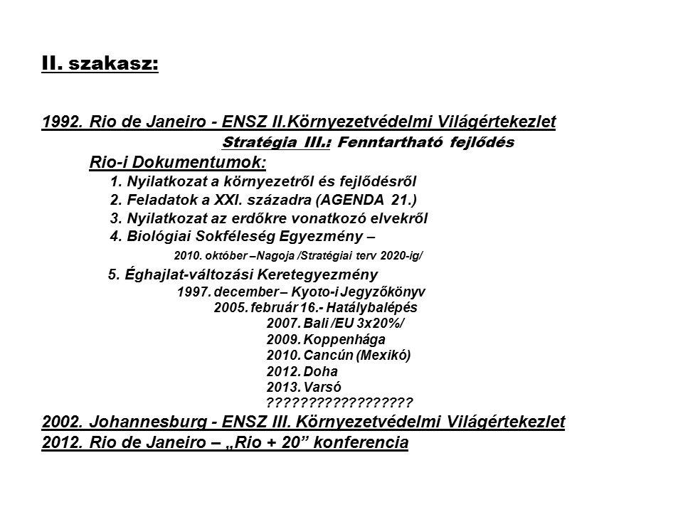 II. szakasz: 1992. Rio de Janeiro - ENSZ II.Környezetvédelmi Világértekezlet Stratégia III.: Fenntartható fejlődés Rio-i Dokumentumok: 1. Nyilatkozat