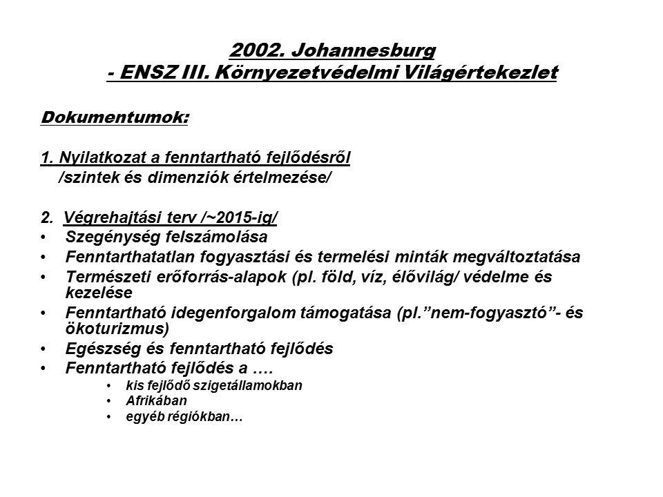 2002. Johannesburg - ENSZ III. Környezetvédelmi Világértekezlet Dokumentumok: 1. Nyilatkozat a fenntartható fejlődésről /szintek és dimenziók értelmez