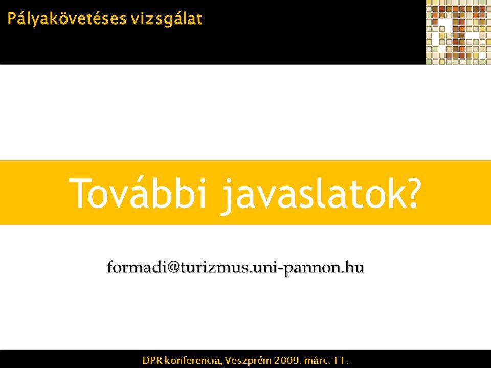További javaslatok. Pályakövetéses vizsgálat DPR konferencia, Veszprém 2009.