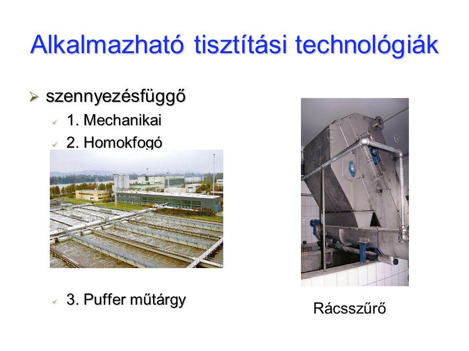 Alkalmazható tisztítási technológiák  szennyezésfüggő 1. Mechanikai 1. Mechanikai 2. Homokfogó 2. Homokfogó 3. Puffer műtárgy 3. Puffer műtárgy Rácss