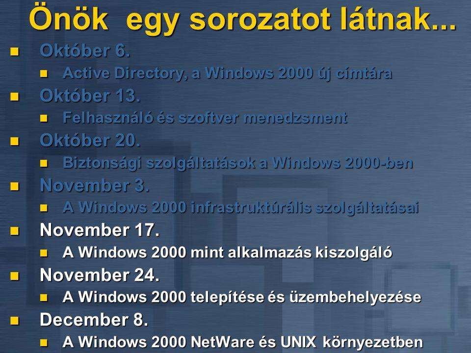 Szalontay Zoltán, Tarsoly Balázs rendszermérnökök Gaál László fejlesztési szakértő Microsoft Magyarország A Windows 2000, mint alkalmazás kiszolgáló