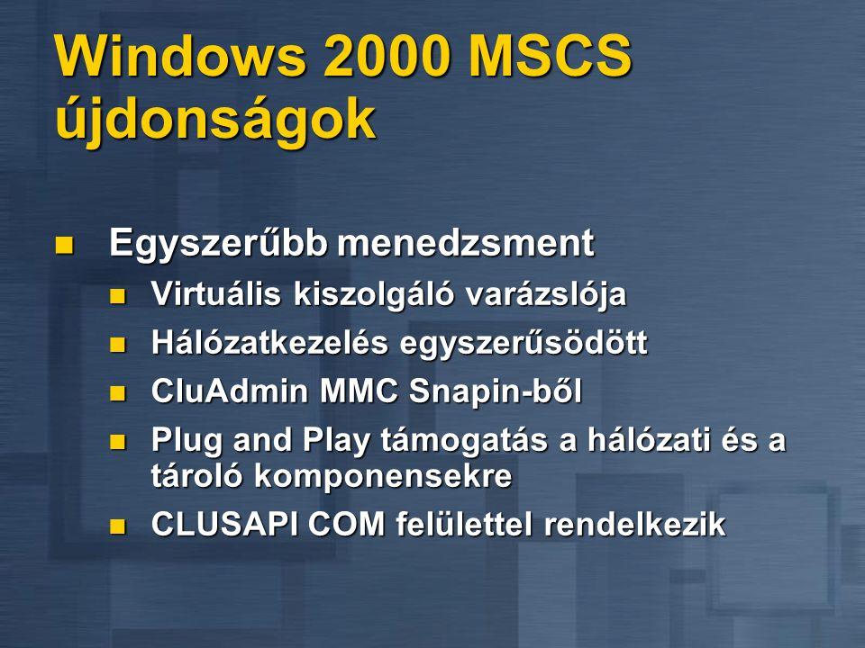 Windows 2000 MSCS újdonságok Könnyebb telepíteni Könnyebb telepíteni Integrált az operációs rendszer telepítővel Integrált az operációs rendszer telep