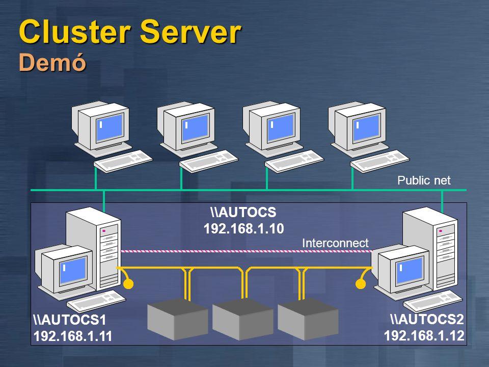 Windows 2000 MSCS újdonságok Egyszerűbb menedzsment Egyszerűbb menedzsment Virtuális kiszolgáló varázslója Virtuális kiszolgáló varázslója Hálózatkeze
