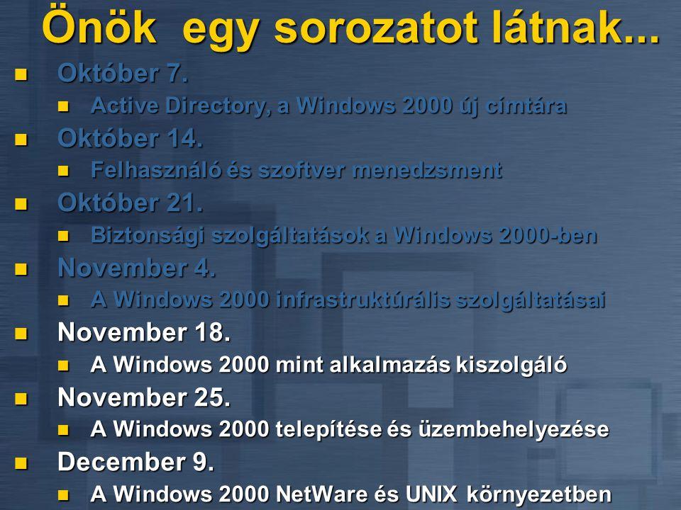 Windows 2000 MSCS újdonságok Könnyebb telepíteni Könnyebb telepíteni Integrált az operációs rendszer telepítővel Integrált az operációs rendszer telepítővel Egyszerűbb konfiguráció a felhasználó tesztek alapján Egyszerűbb konfiguráció a felhasználó tesztek alapján Automatizált, szkriptelhető telepítő Automatizált, szkriptelhető telepítő Cluster Server klónozása SYSPREP-pel Cluster Server klónozása SYSPREP-pel Újdonságok Újdonságok Folyamatos áttérés NTSE 4.0 + SP4-ről Folyamatos áttérés NTSE 4.0 + SP4-ről DHCP, WINS, DFS, SMTP, IIS4, NNTP DHCP, WINS, DFS, SMTP, IIS4, NNTP Ügyfél hálózati kapcsolatának visszaállítása Ügyfél hálózati kapcsolatának visszaállítása 4 csomópont támogatása a DataCenter Serverben 4 csomópont támogatása a DataCenter Serverben