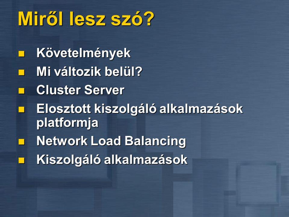 Üzemmódok Távoli adminisztráció (Remote Administration) Távoli adminisztráció (Remote Administration) Távoli szerver menedzsment Távoli szerver menedzsment Ügyfél független szerver menedzsment Ügyfél független szerver menedzsment Alkalmazás szerver (Application Serving) Alkalmazás szerver (Application Serving) 32 bites alkalmazások futtatására öreg számítógépeken, a PC élettartalmának meghosszabbítása 32 bites alkalmazások futtatására öreg számítógépeken, a PC élettartalmának meghosszabbítása 16  32 bites migráció felgyorsítása 16  32 bites migráció felgyorsítása MainFrame típusú központi alkalmazás menedzsment Windows környezetben MainFrame típusú központi alkalmazás menedzsment Windows környezetben TCO csökkentése TCO csökkentése