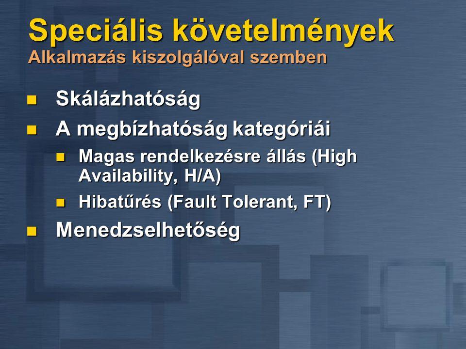 Speciális követelmények Alkalmazás kiszolgálóval szemben Skálázhatóság Skálázhatóság A megbízhatóság kategóriái A megbízhatóság kategóriái Magas rendelkezésre állás (High Availability, H/A) Magas rendelkezésre állás (High Availability, H/A) Hibatűrés (Fault Tolerant, FT) Hibatűrés (Fault Tolerant, FT) Menedzselhetőség Menedzselhetőség