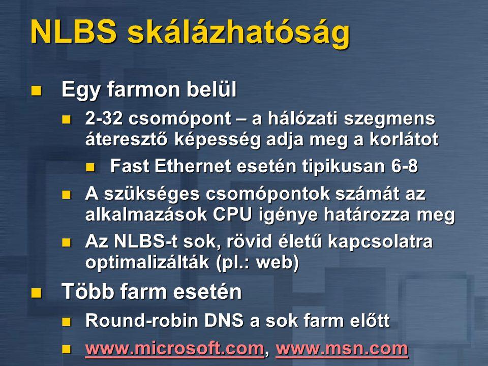 NLBS parancssoros felügyelet Távolról is futtatható WLBS.EXE Távolról is futtatható WLBS.EXE Lekérdezi a farm állapotát Lekérdezi a farm állapotát Eli