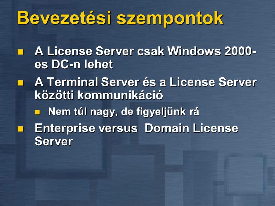 Win2000 Server + Terminal Services Licensing A termék Háttér infrastruktúra Microsoft Komponensek Win2000 Server + Terminal Services Ügyfelek Vállalat