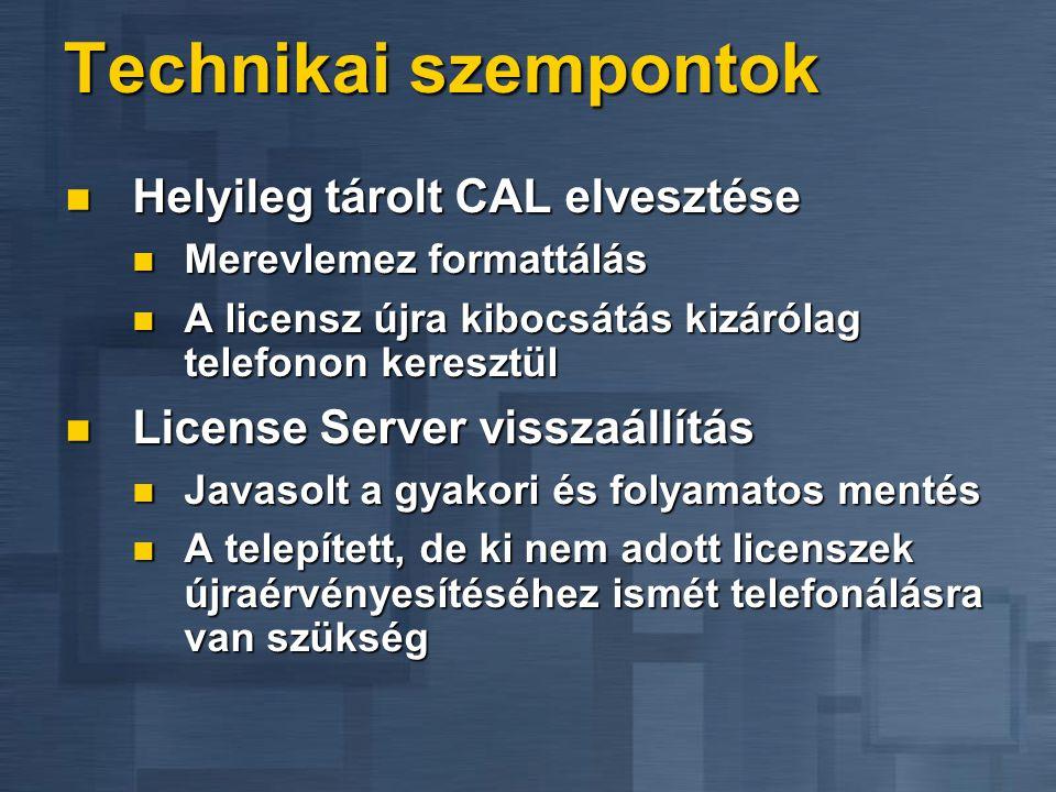Bevezetési szempontok A License Server csak Windows 2000- es DC-n lehet A License Server csak Windows 2000- es DC-n lehet A Terminal Server és a Licen
