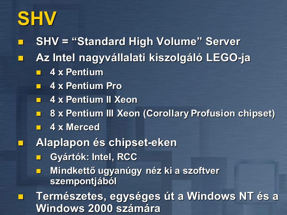 SHV SHV = Standard High Volume Server SHV = Standard High Volume Server Az Intel nagyvállalati kiszolgáló LEGO-ja Az Intel nagyvállalati kiszolgáló LEGO-ja 4 x Pentium 4 x Pentium 4 x Pentium Pro 4 x Pentium Pro 4 x Pentium II Xeon 4 x Pentium II Xeon 8 x Pentium III Xeon (Corollary Profusion chipset) 8 x Pentium III Xeon (Corollary Profusion chipset) 4 x Merced 4 x Merced Alaplapon és chipset-eken Alaplapon és chipset-eken Gyártók: Intel, RCC Gyártók: Intel, RCC Mindkettő ugyanúgy néz ki a szoftver szempontjából Mindkettő ugyanúgy néz ki a szoftver szempontjából Természetes, egységes út a Windows NT és a Windows 2000 számára Természetes, egységes út a Windows NT és a Windows 2000 számára