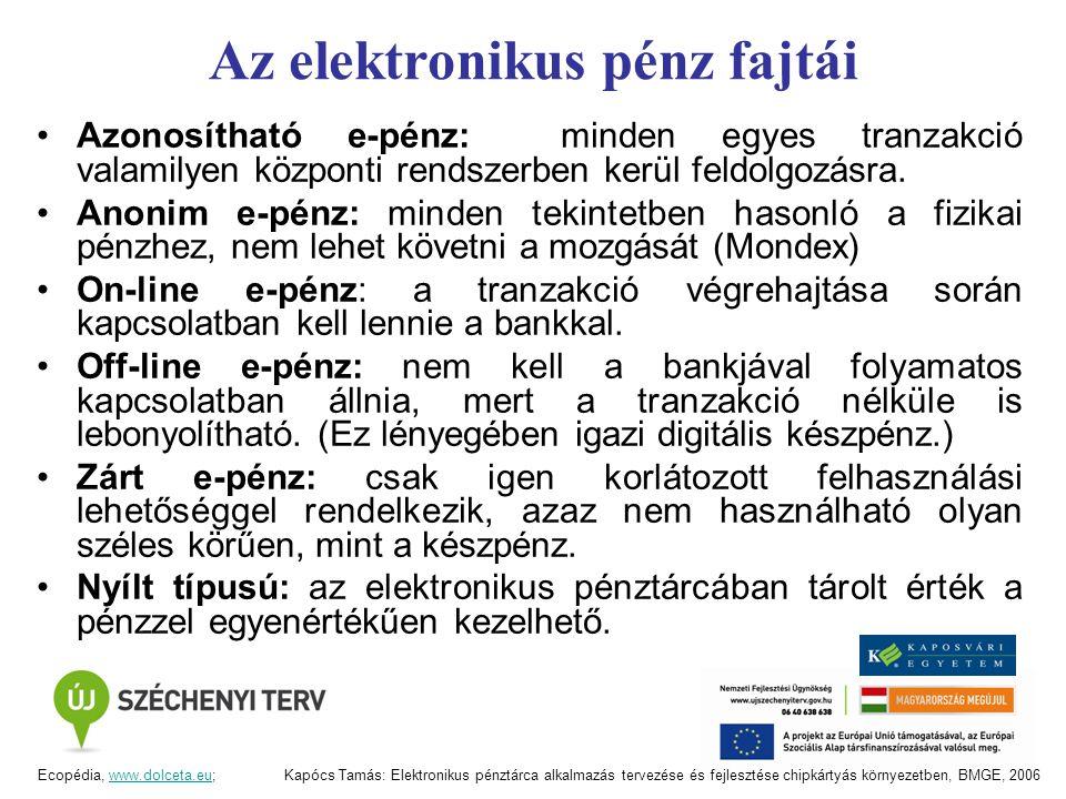 Az elektronikus pénz fajtái Azonosítható e-pénz: minden egyes tranzakció valamilyen központi rendszerben kerül feldolgozásra. Anonim e-pénz: minden te