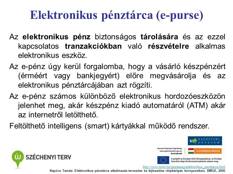 Elektronikus pénztárca (e-purse) Az elektronikus pénz biztonságos tárolására és az ezzel kapcsolatos tranzakciókban való részvételre alkalmas elektron