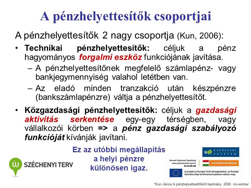 A pénzhelyettesítők csoportjai A pénzhelyettesítők 2 nagy csoportja (Kun, 2006) : Technikai pénzhelyettesítők: céljuk a pénz hagyományos forgalmi eszk