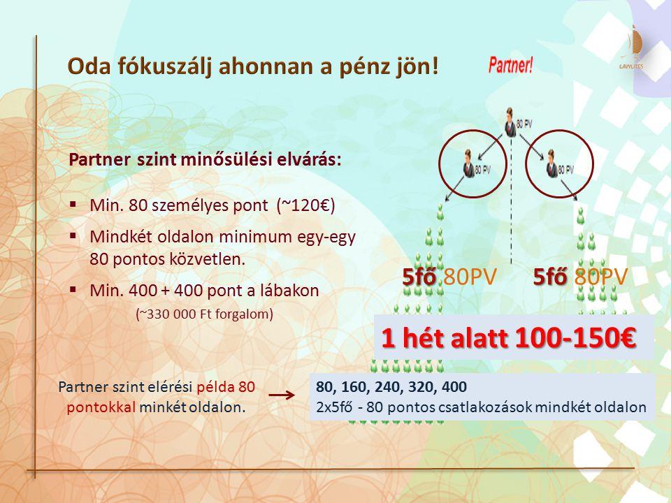 Partner szint minősülési elvárás:  Min. 80 személyes pont (~120€)  Mindkét oldalon minimum egy-egy 80 pontos közvetlen.  Min. 400 + 400 pont a lába