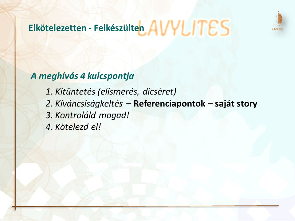 A meghívás 4 kulcspontja 1. Kitüntetés (elismerés, dicséret) 2. Kíváncsiságkeltés – Referenciapontok – saját story 3. Kontroláld magad! 4. Kötelezd el