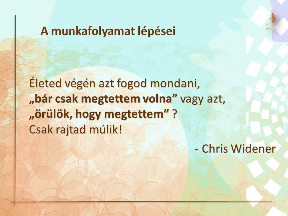 """Életed végén azt fogod mondani, """"bár csak megtettem volna"""" vagy azt, """"örülök, hogy megtettem"""" ? Csak rajtad múlik! - Chris Widener"""