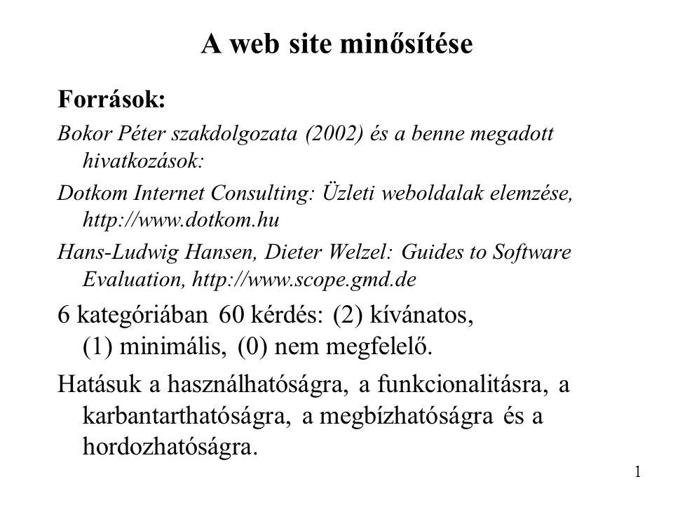 A web site minősítése Források: Bokor Péter szakdolgozata (2002) és a benne megadott hivatkozások: Dotkom Internet Consulting: Üzleti weboldalak elemzése, http://www.dotkom.hu Hans-Ludwig Hansen, Dieter Welzel: Guides to Software Evaluation, http://www.scope.gmd.de 6 kategóriában 60 kérdés: (2) kívánatos, (1) minimális, (0) nem megfelelő.