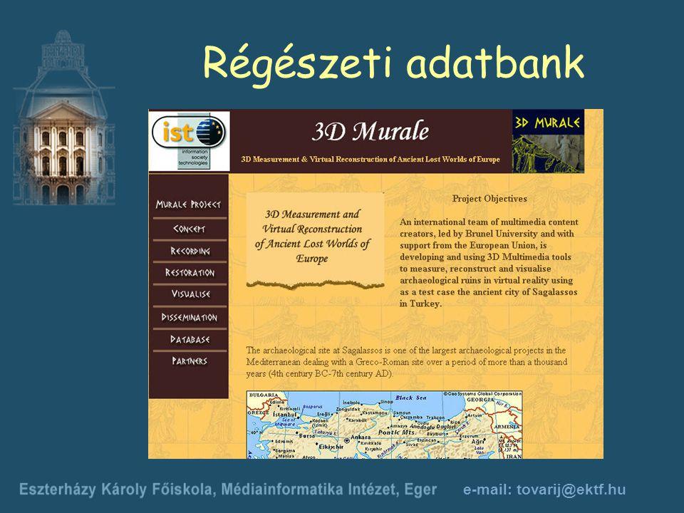 e-mail: tovarij@ektf.hu Régészeti adatbank