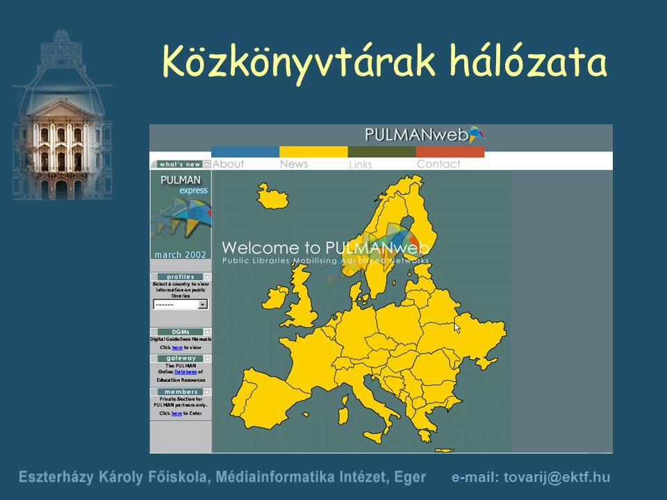 e-mail: tovarij@ektf.hu Közkönyvtárak hálózata