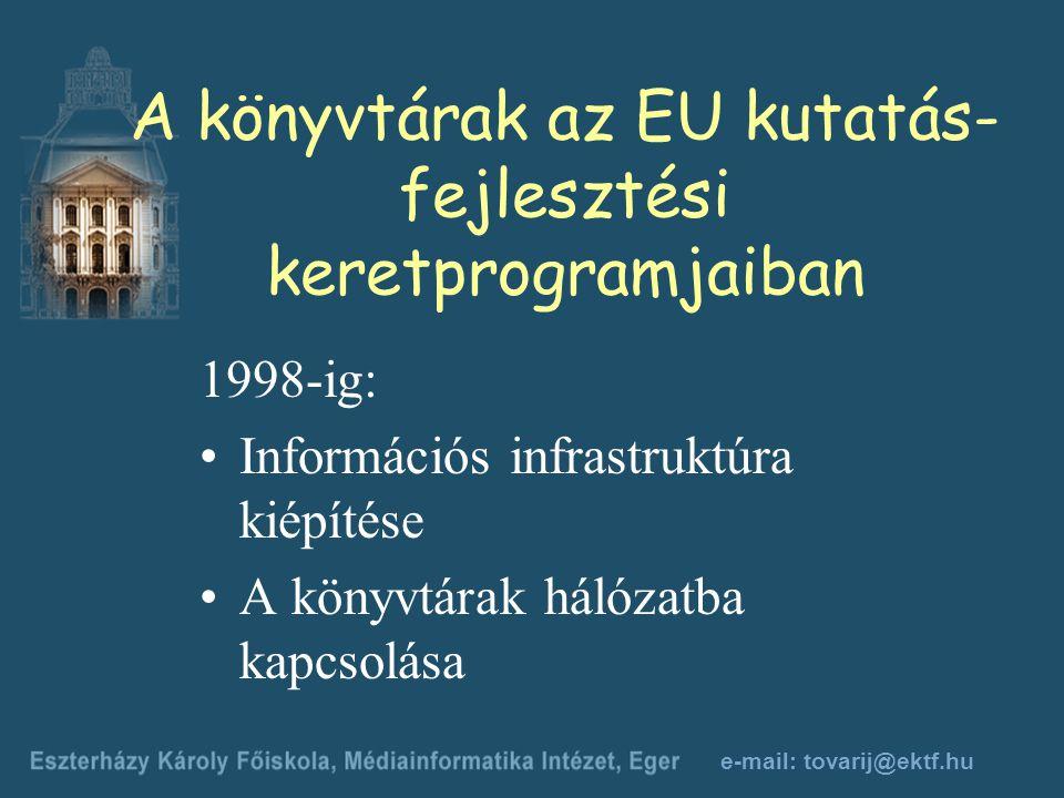 e-mail: tovarij@ektf.hu A könyvtárak az EU kutatás- fejlesztési keretprogramjaiban 1998-ig: Információs infrastruktúra kiépítése A könyvtárak hálózatba kapcsolása