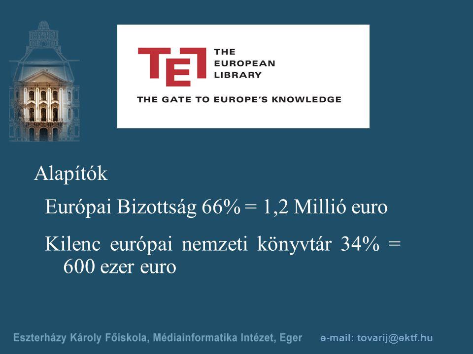 e-mail: tovarij@ektf.hu Alapítók Európai Bizottság 66% = 1,2 Millió euro Kilenc európai nemzeti könyvtár 34% = 600 ezer euro