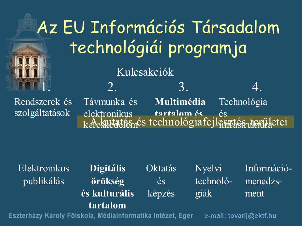 e-mail: tovarij@ektf.hu Multimédia tartalom és eszközök 4.3.2.1.