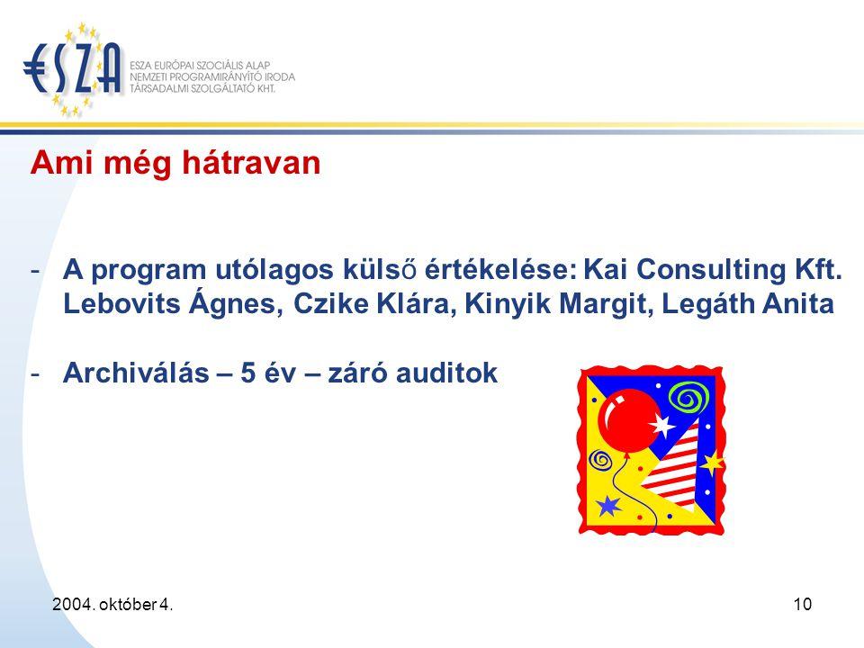 2004. október 4.10 Ami még hátravan - A program utólagos külső értékelése: Kai Consulting Kft.