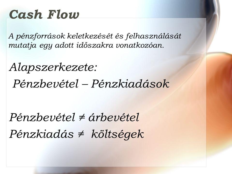 Cash Flow A pénzforrások keletkezését és felhasználását mutatja egy adott időszakra vonatkozóan. Alapszerkezete: Pénzbevétel – Pénzkiadások Pénzbevéte