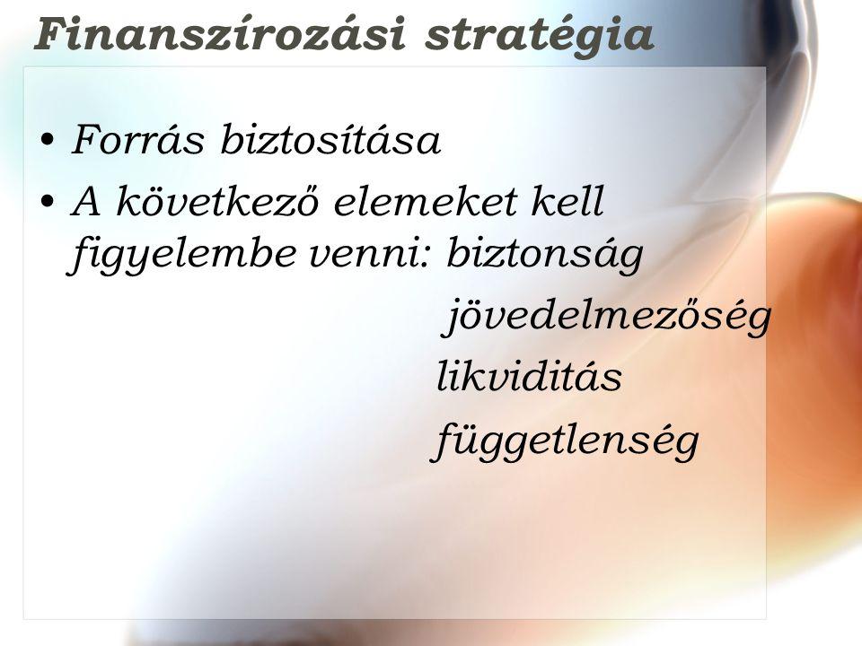 Finanszírozási stratégia Forrás biztosítása A következő elemeket kell figyelembe venni: biztonság jövedelmezőség likviditás függetlenség
