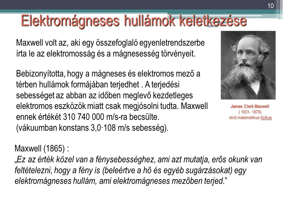 Elektromágneses hullámok. 10 Elektromágneses hullámok keletkezése James Clerk Maxwell ( 1831- 1879) skót matematikus-fizikus skót matematikus-fizikus
