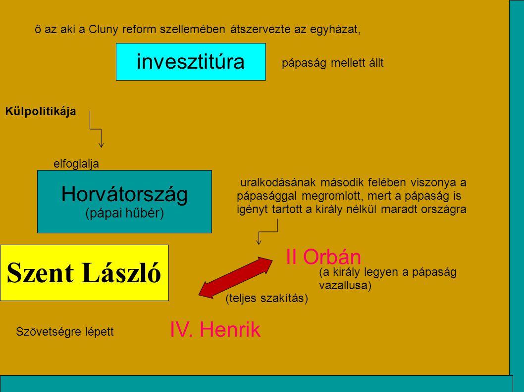 Horvátország (pápai hűbér) II Orbán IV. Henrik Külpolitikája elfoglalja ő az aki a Cluny reform szellemében átszervezte az egyházat, invesztitúra pápa