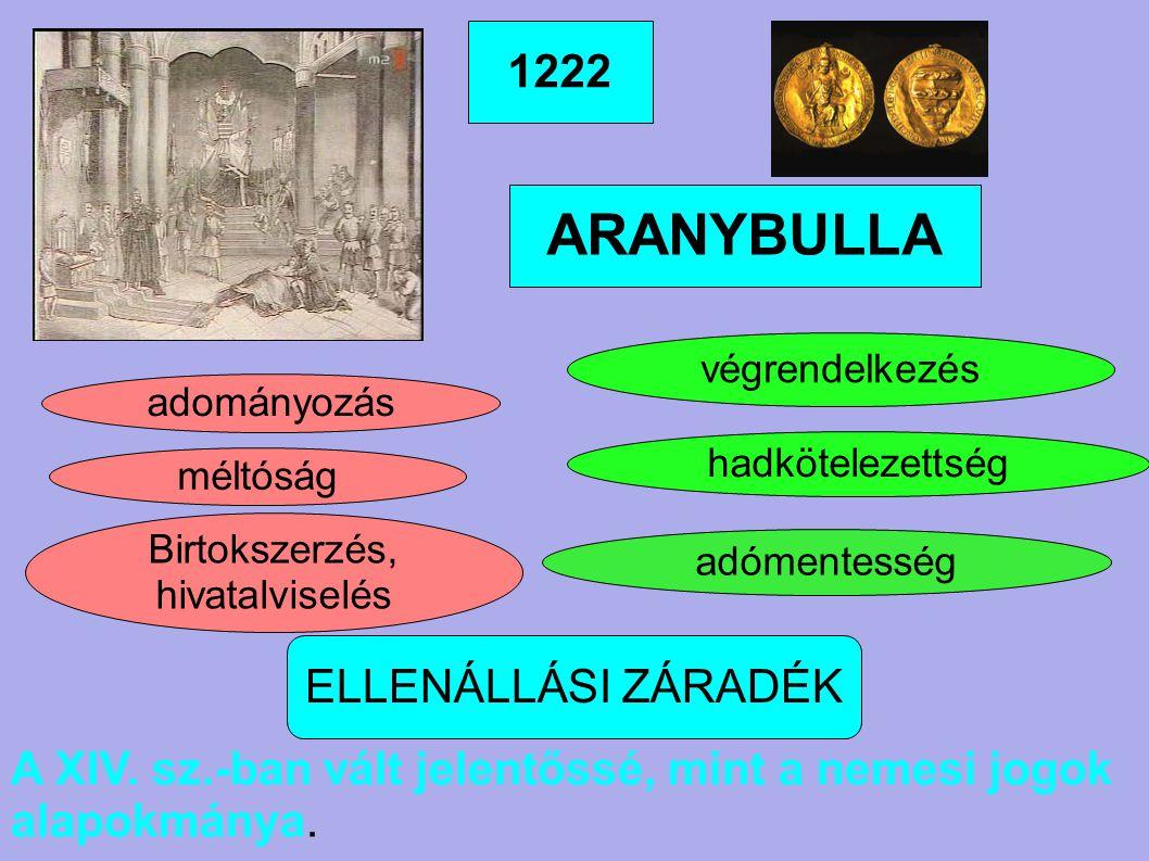 1222 ARANYBULLA ELLENÁLLÁSI ZÁRADÉK adományozás méltóság Birtokszerzés, hivatalviselés végrendelkezés hadkötelezettség adómentesség A XIV. sz.-ban vál