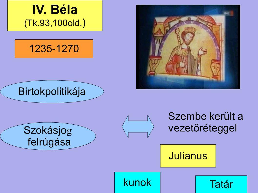Birtokpolitikája Szokásjo g felrúgása kunok IV. Béla (Tk.93,100old. ) Szembe került a vezetőréteggel Tatár Julianus 1235-1270